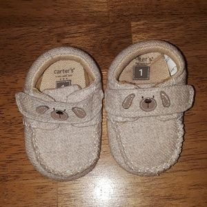Carters tan newborn slippers